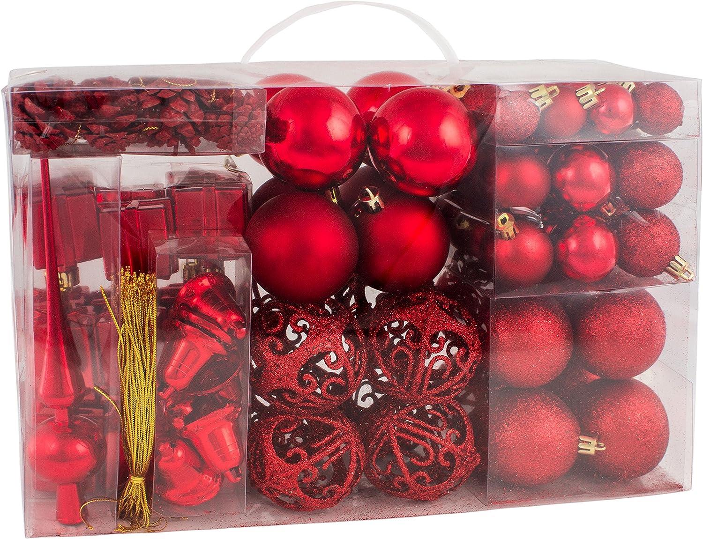 BRUBAKER 101-piezas de Bolas de Navidad con Copas de árboles Rojos ...