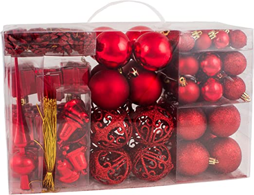Set of 16 Red Wooden Christmas Tree Decorations Ornaments Baubles Small White