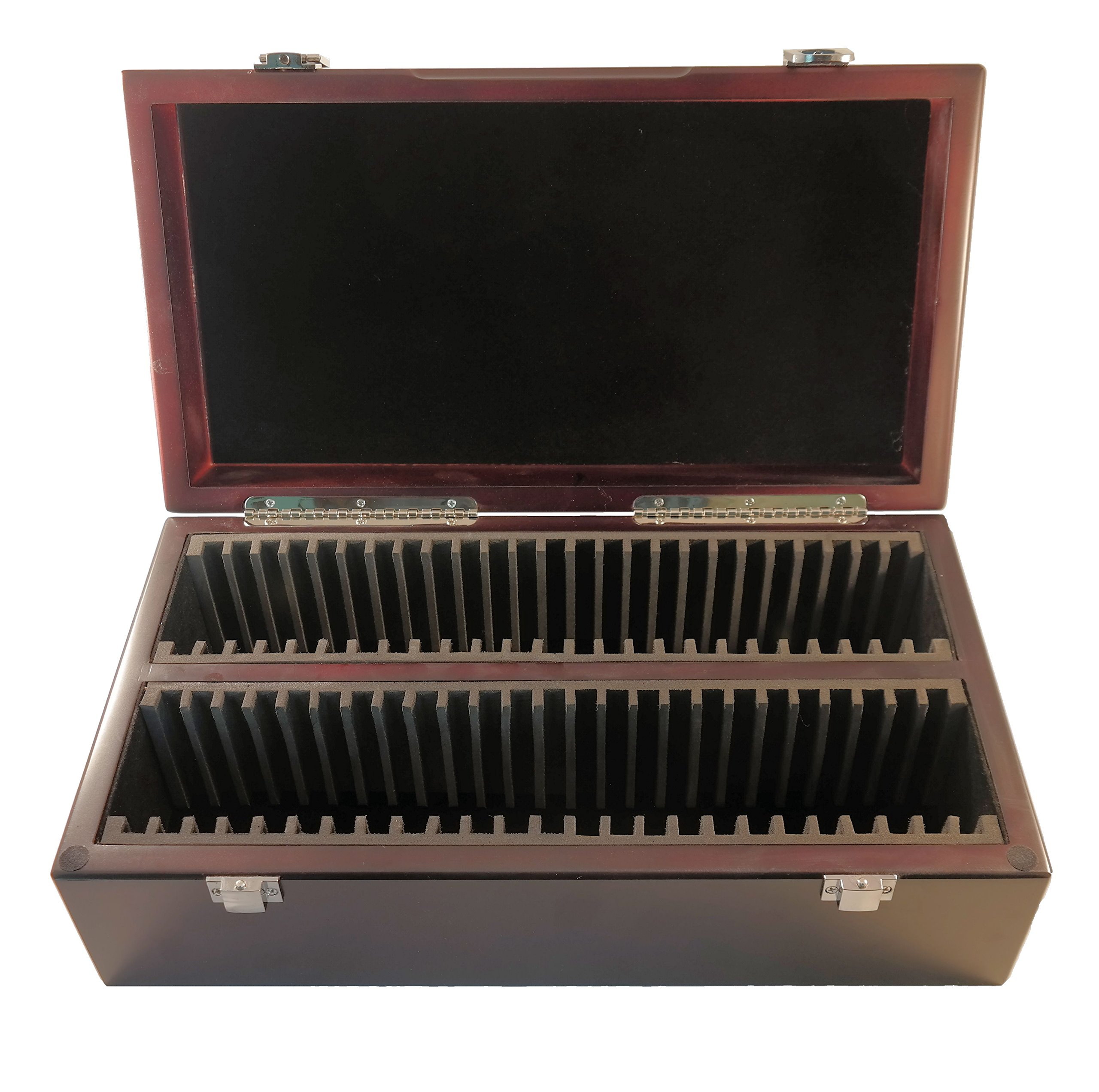 Certified Coin Wood Storage/Display Box PCGS/NGC/Premier/Little Bear (50 Holders, Dark Mahogany)