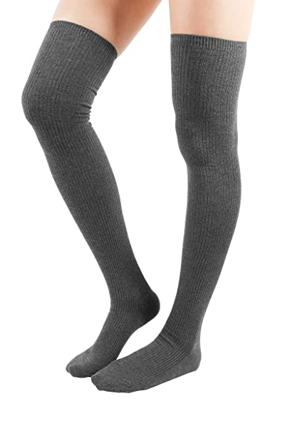 49aec60d2 WowFoot Womens Rib Over The Knee Thigh High Socks Cotton Opaque Leg warmer  Winter Boot Leggings