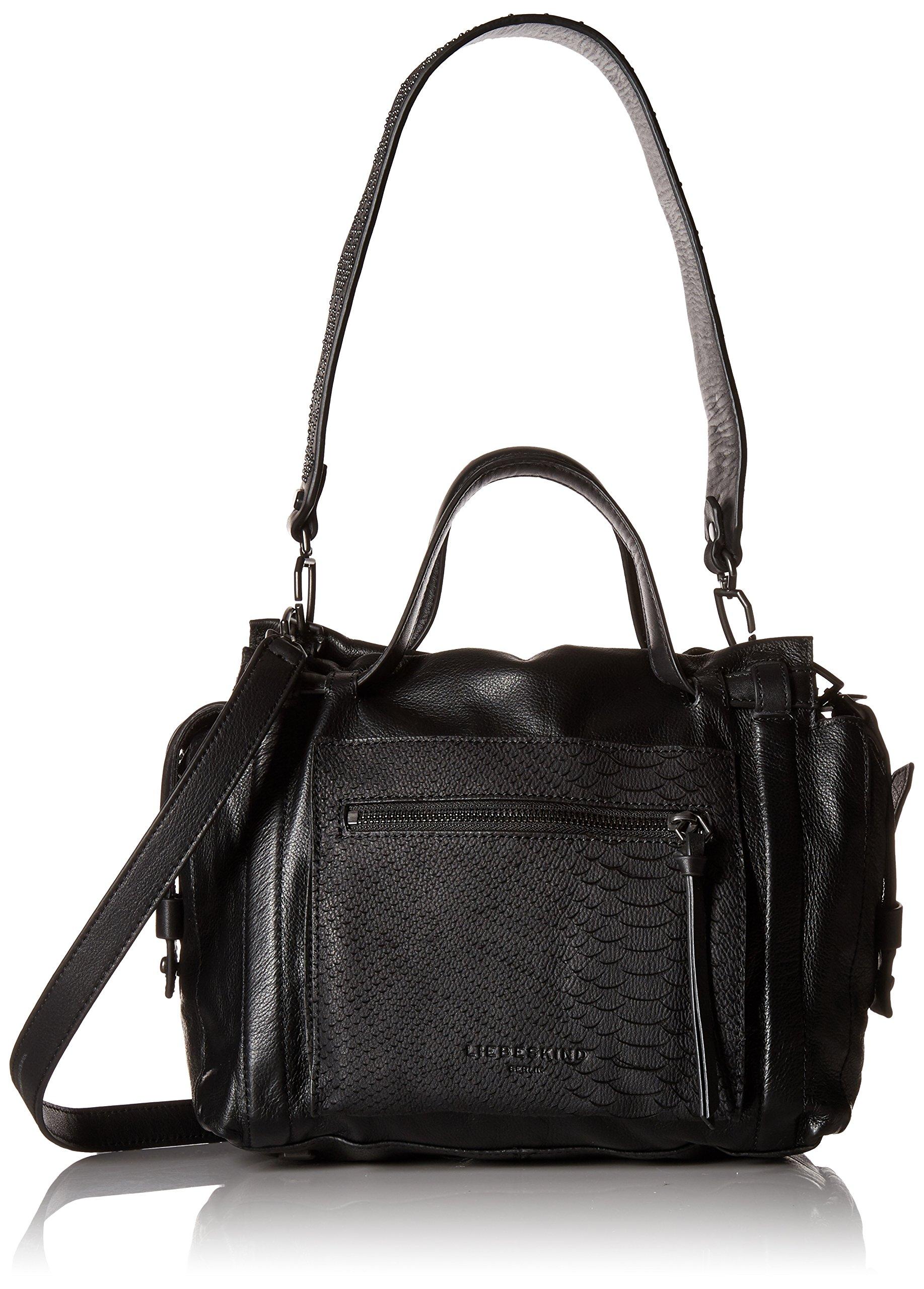Liebeskind Berlin Women's Snakeskin and Studded Sporty Leather Satchel, Oil Black