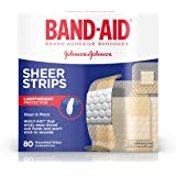 Band-Aid Brand Sheer Strips Adhesive Bandages, Basic Care Assorted Sizes, 80 Count