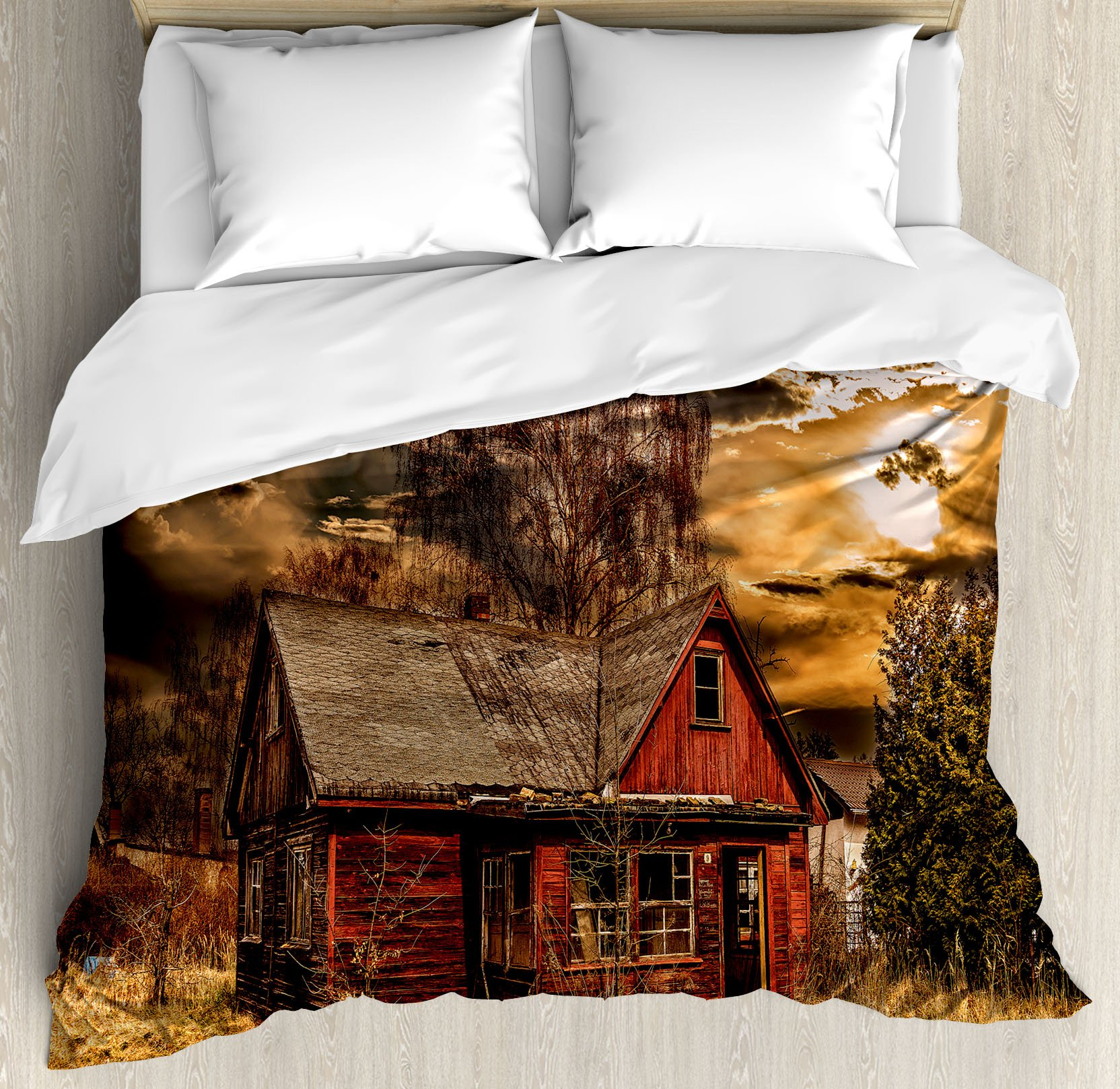Scenery Decor Duvet Cover Set by Ambesonne, Scary Horror Movie Themed Abandoned House in Pale Grass Garden Sunset Photo, 3 Piece Bedding Set with Pillow Shams, Queen / Full, Multicolor