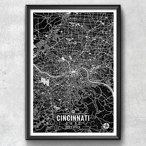 Amazon.com: Cincinnati Ohio Map with Coordinates, Cincinnati ... on