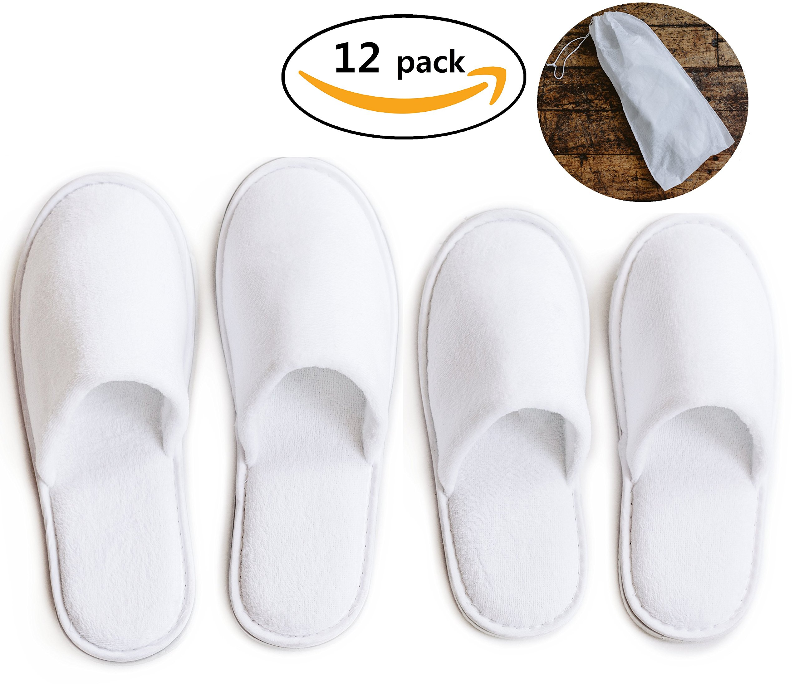 ModLux Spa Slippers - 12 Pairs of Cotton Velvet Closed Toe Slippers with Travel Bags – Thick, Soft, Non-Slip, Disposable Slippers - Fits Most Men and Women - Perfect for Home, Hotel, or Commercial Use