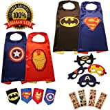 KidsLuvFun Super Hero Capes For Kids 4 Pack - Superhero Cartoon Dress Up incl. Capes Masks Felt Cuffs and 4 Sticker Packs