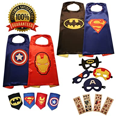 Kidsluvfun super hero capes for kids 4 pack superhero cartoon dress up incl