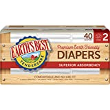 Earth's Best TenderCare Chlorine-Free Diapers, Fragrance Free, Size 2, Weight 12-18 lbs, 40 Count (Pack of 4)
