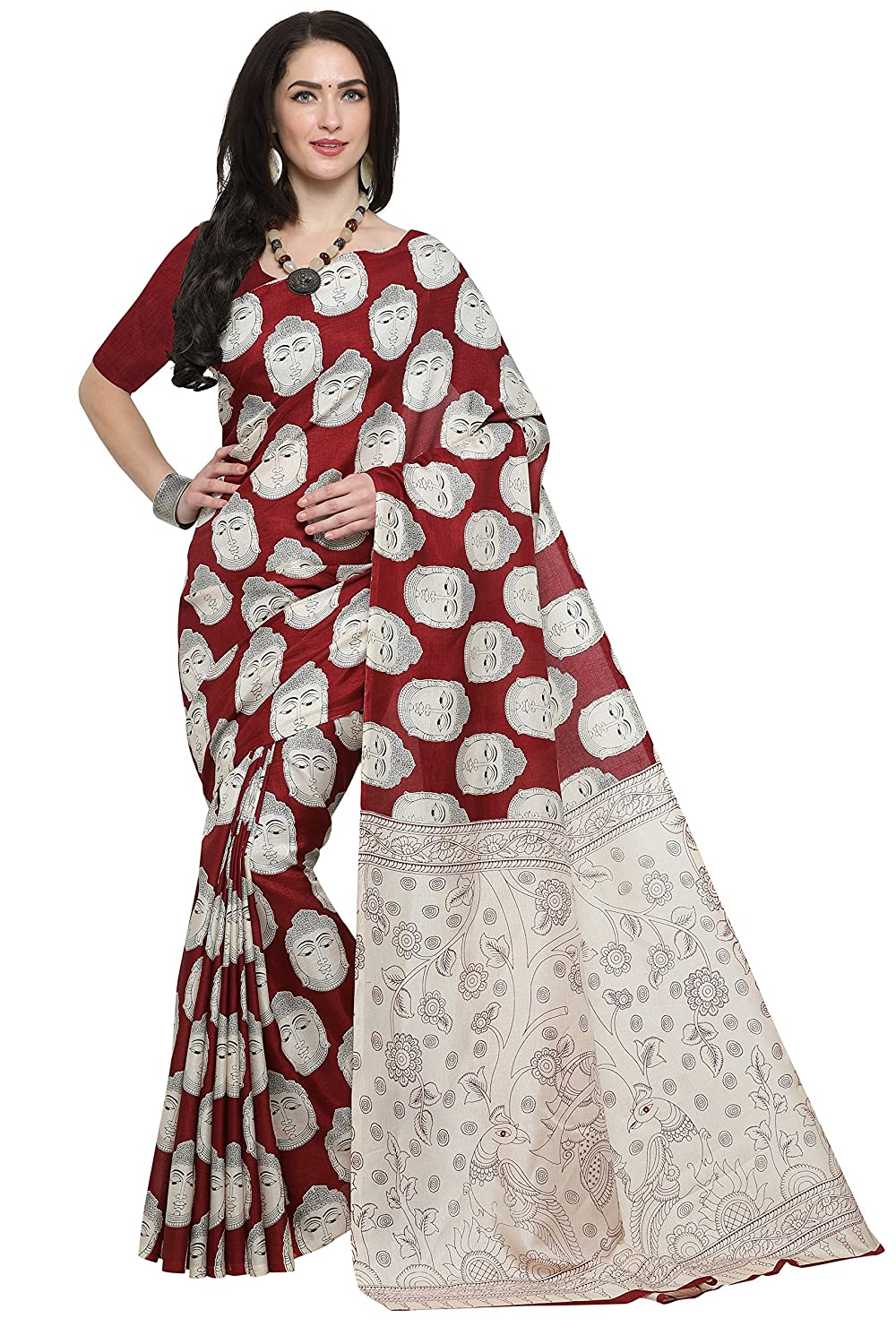 5c98ba646e004 EthnicJunction Art Silk Saree with Blouse Piece (EJ1168-7010 Maroon  Buddha Free Size)  Amazon.in  Clothing   Accessories
