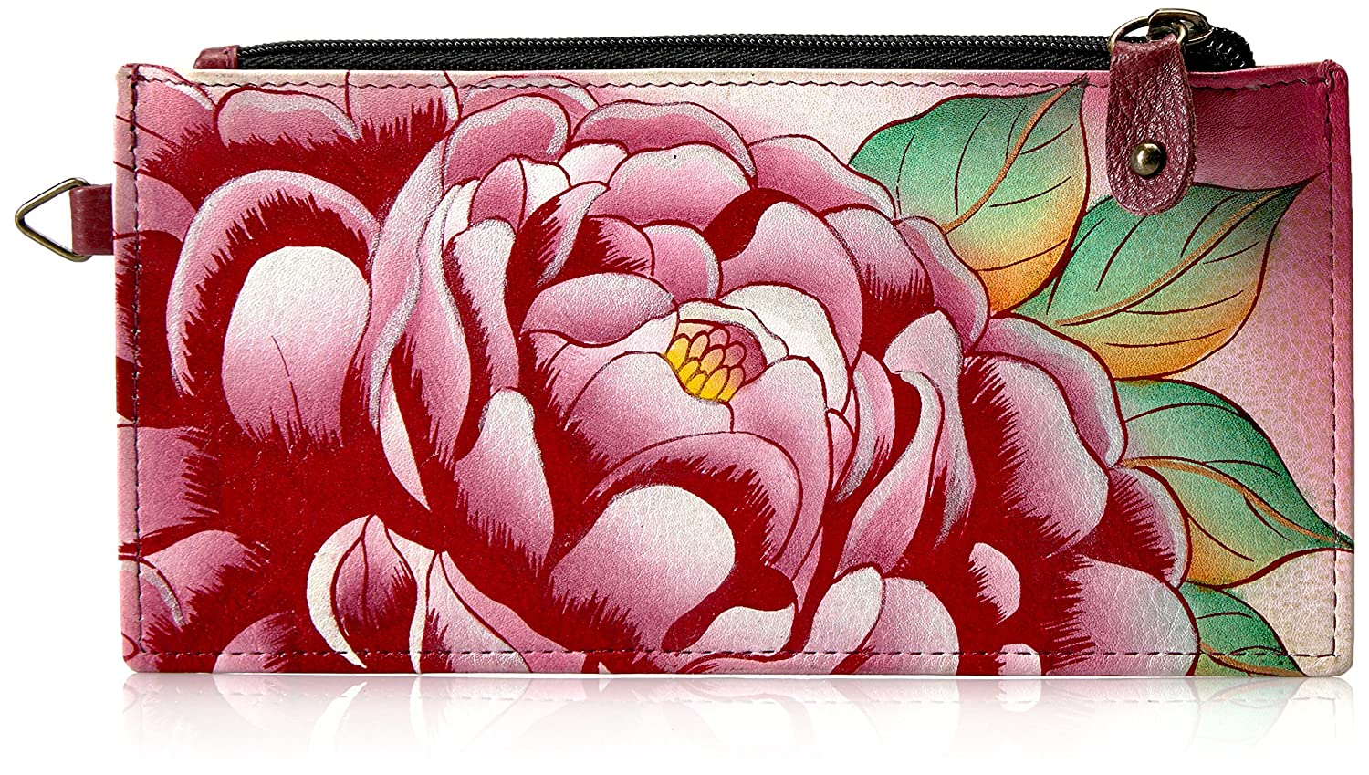 Anuschka Anna By Handpainted Leather Organizer Wallet, Precious Peony Credit Card Anna By Anuschka Ppy-Precious Peony One Size 1713-PPY