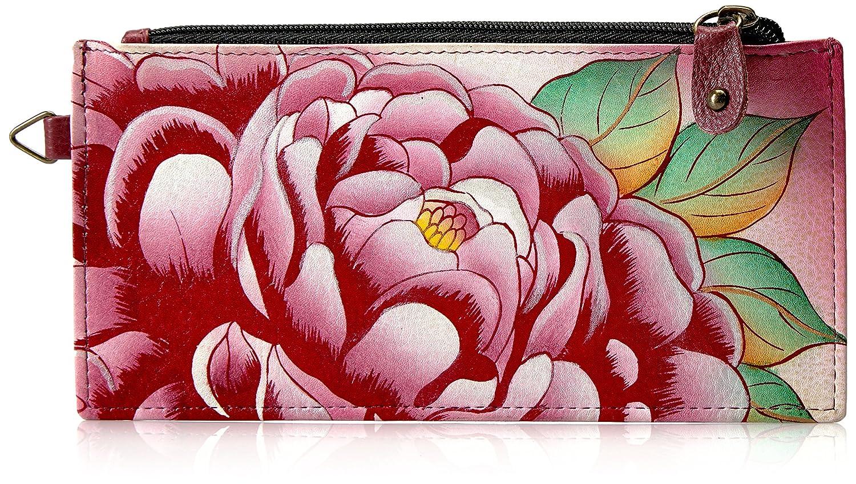 Anuschka ANNA by手塗りレザーオーガナイザー財布、貴重なピオニークレジットカードホルダー  Ppy-precious Peony B01MATK9GM