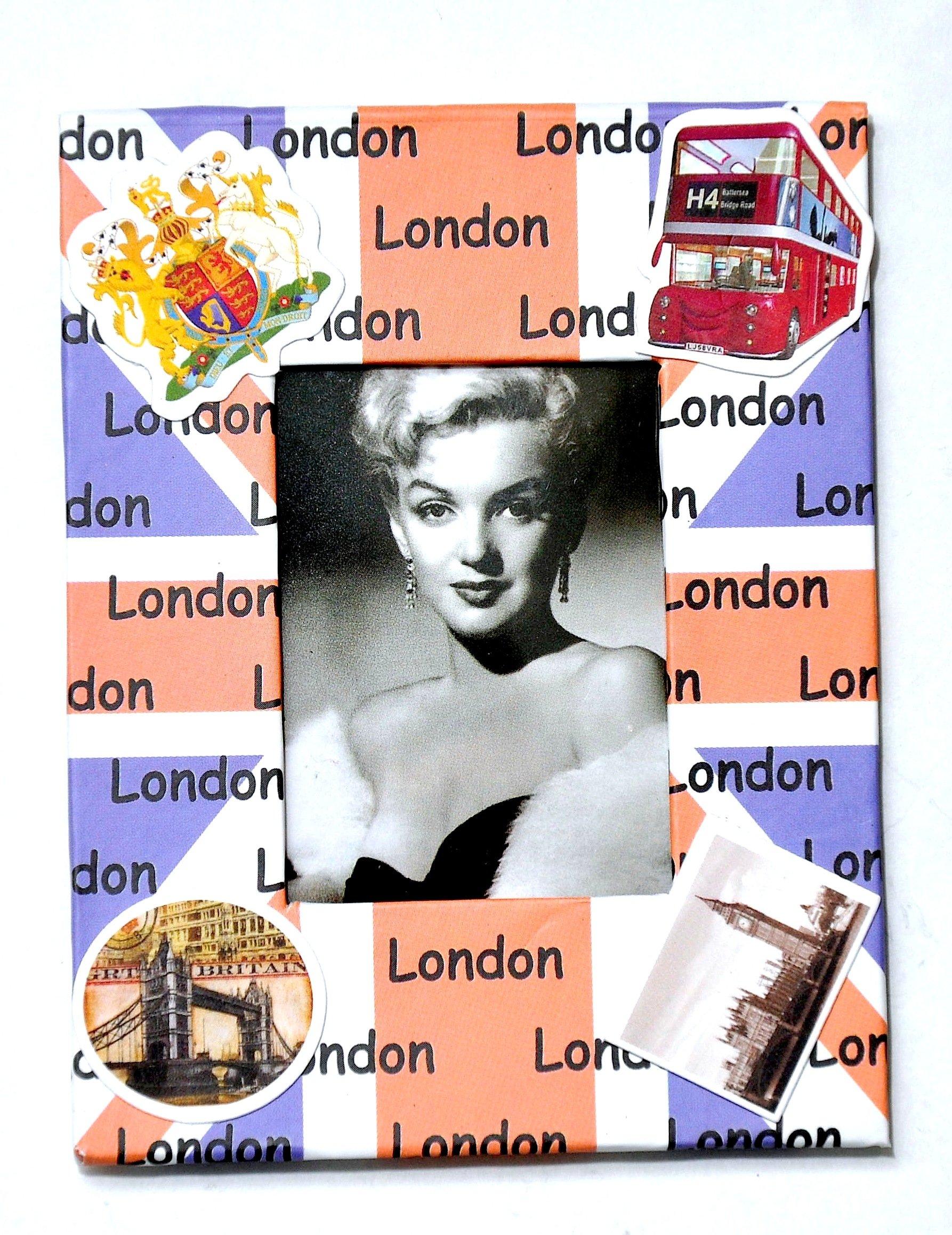 I Love London Photo Frame - Metal Photo Frame - London Souvenir Photo Frame - London Icons Metal Photo Frame - Big Ben, Tower Bridge London Eye Photo frame + LONDON ICONS PHOTO FRAME CUM FRIDGE MAGNET by London Souvenirs (Image #2)