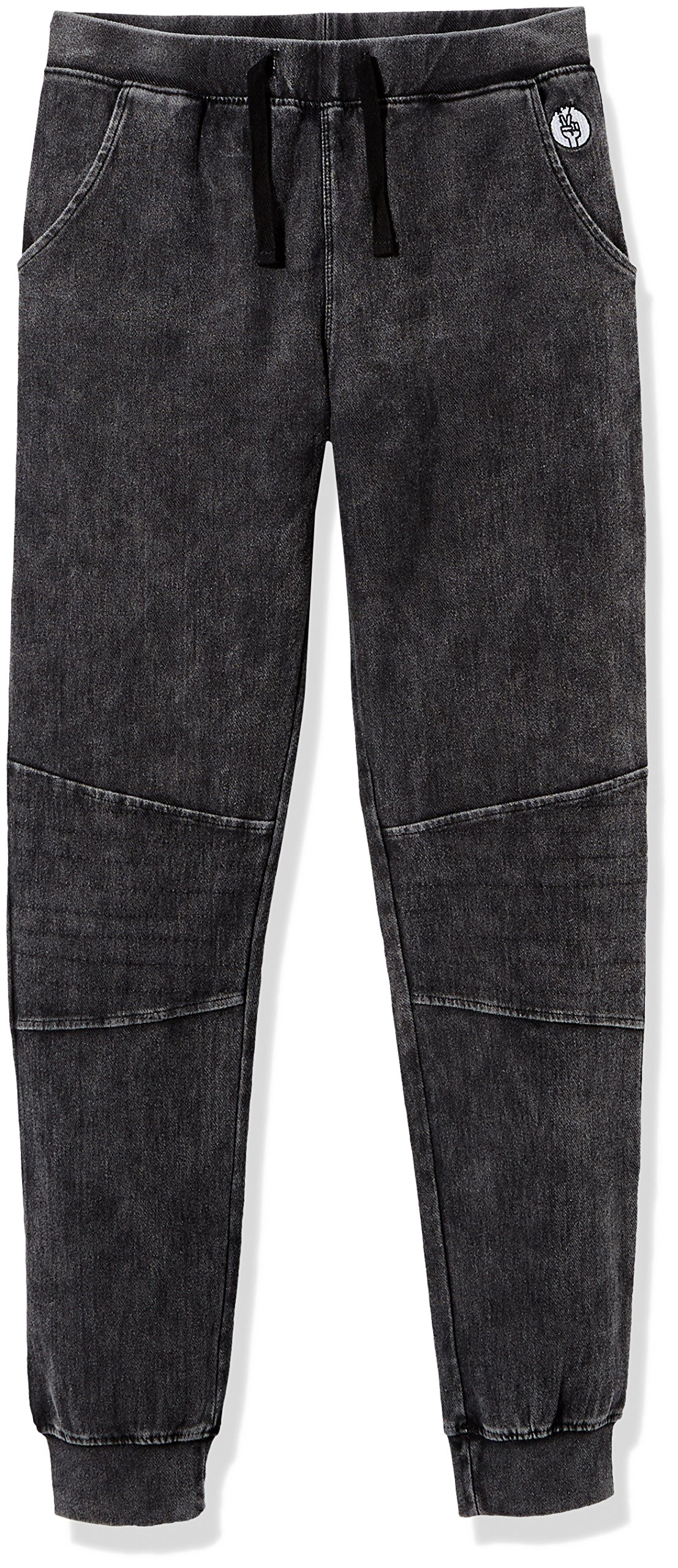 Kid Nation Kids' Cotton Stretch Washed Knit Pull-On Moto Jogger for Boys or Girls XL Black Washed