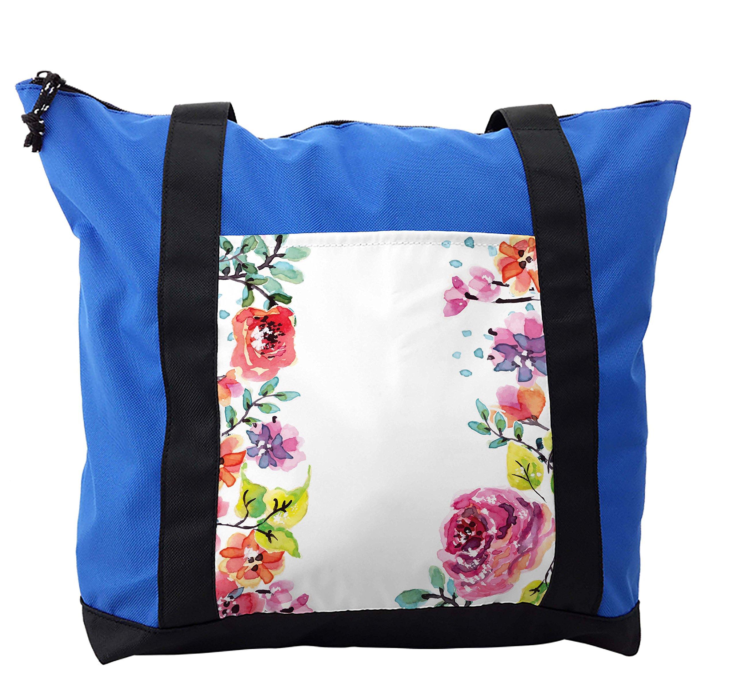Lunarable Watercolor Flower Shoulder Bag, Summer Rose Motif, Durable with Zipper