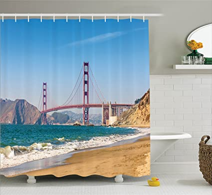 Ambesonne Apartment Decor Shower Curtain Set Panoramic View Of Golden Gate Bridge San Francisco With