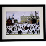 """Lowry Large Black Framed Print / Picture """"Mill Scene With Figures"""" (internal frame size 20"""" x 16"""")"""