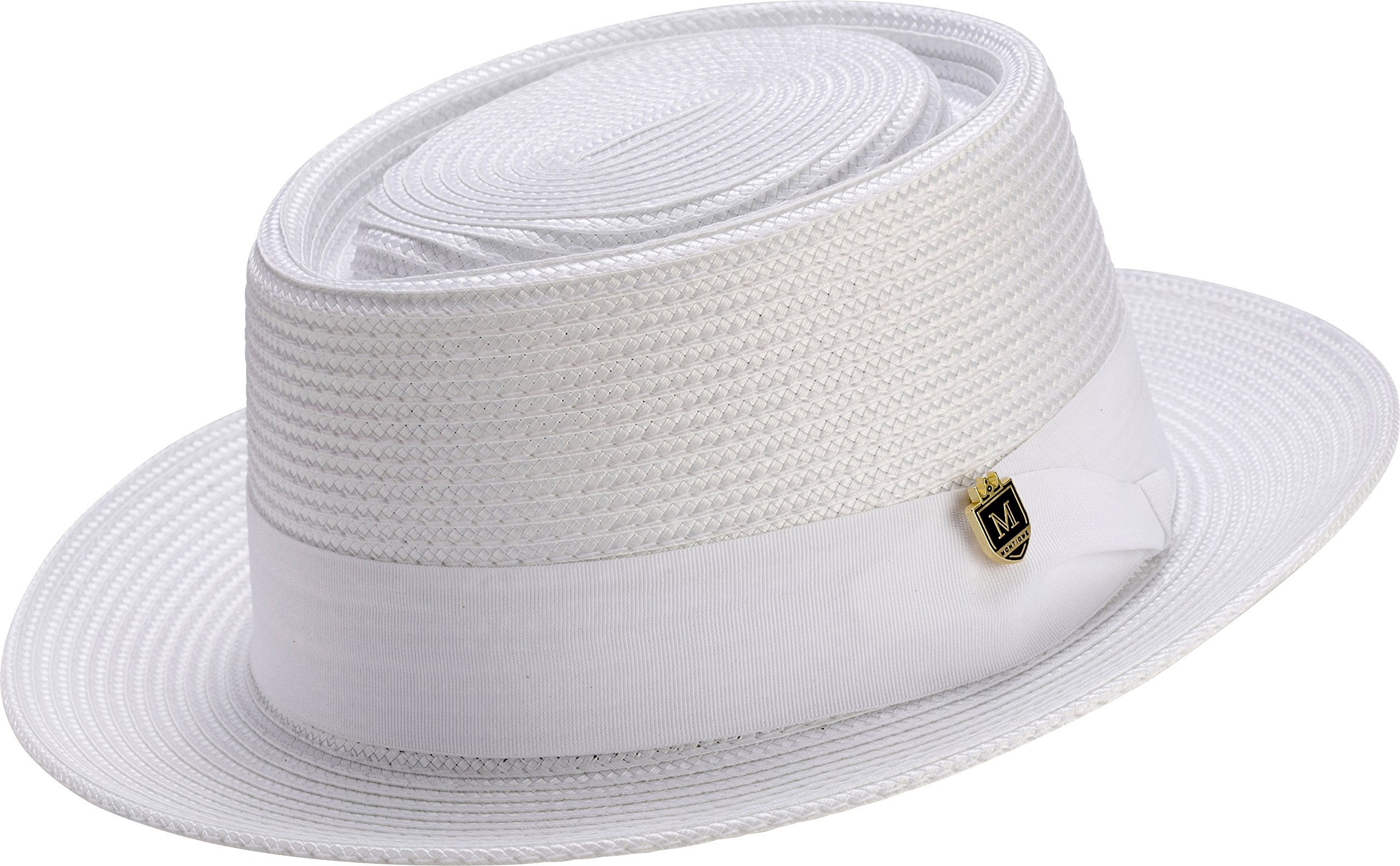 421d1a7b92a10 MONTIQUE Men s Teardrop Dent Stiff Hard Weaved Pork Pie Hat H50 (Large