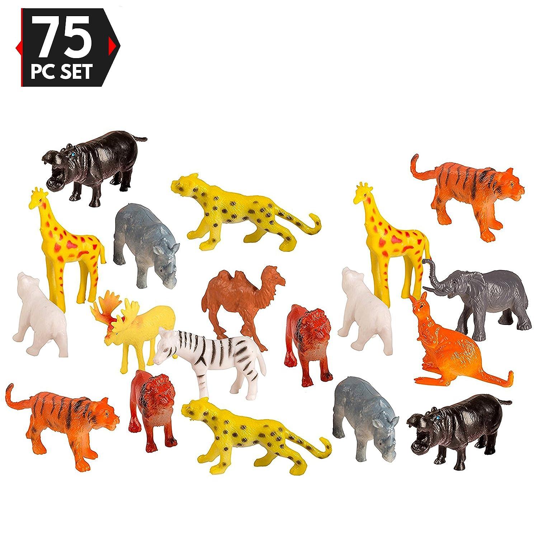 75 Piece Party Pack Mini Wild Jungle Animals - Plastic Mini Educational Jungle Animal Toys - Fun Gift Party
