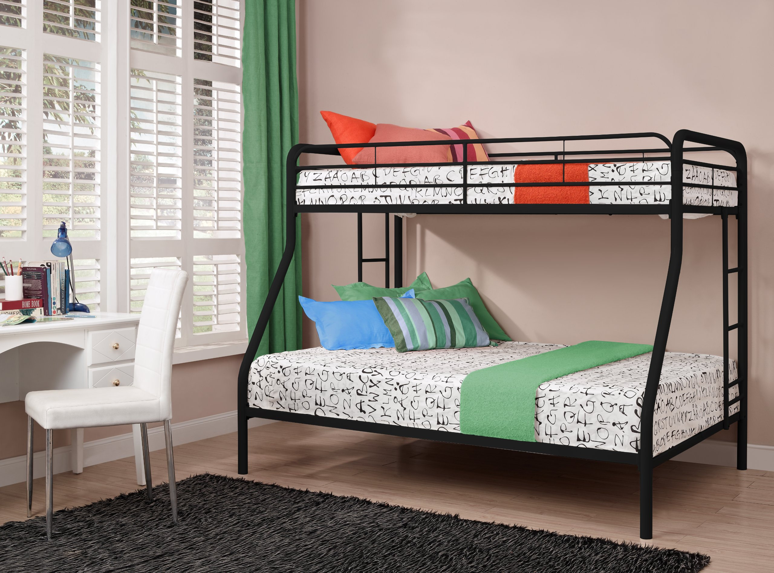 DHP Twin-Over-Full Bunk Bed with Metal Frame and Ladder, Space-Saving Design, Black by DHP (Image #5)