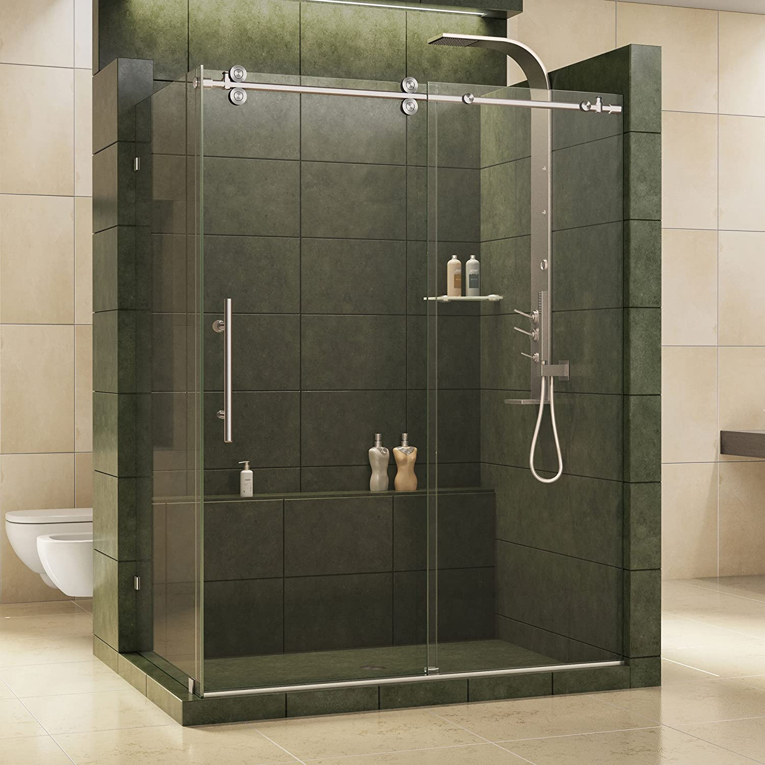 Amazon Canada] 36-Inch by 60 1/2-Inch Fully Frameless Sliding Shower ...