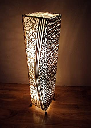 Unusual Lamp Bamboo and Rattan Contemporary Natural Floor Lamp ...:Unusual Lamp Bamboo and Rattan Contemporary Natural Floor Lamp 100cm Hand  Made Bali Lamp,Lighting