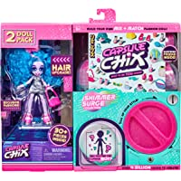 Capsule Chix Shimmer Surge 2 Pack, 4.5 inch Small Doll with Capsule Machine Unboxing and Mix and Match Fashions and…