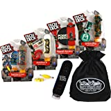 TECH DECK 96mm Individual Fingerboards Gift Set Party Bundle with Bonus Exclusive Matty's Toy Stop Storage Bag - 4 Pack…