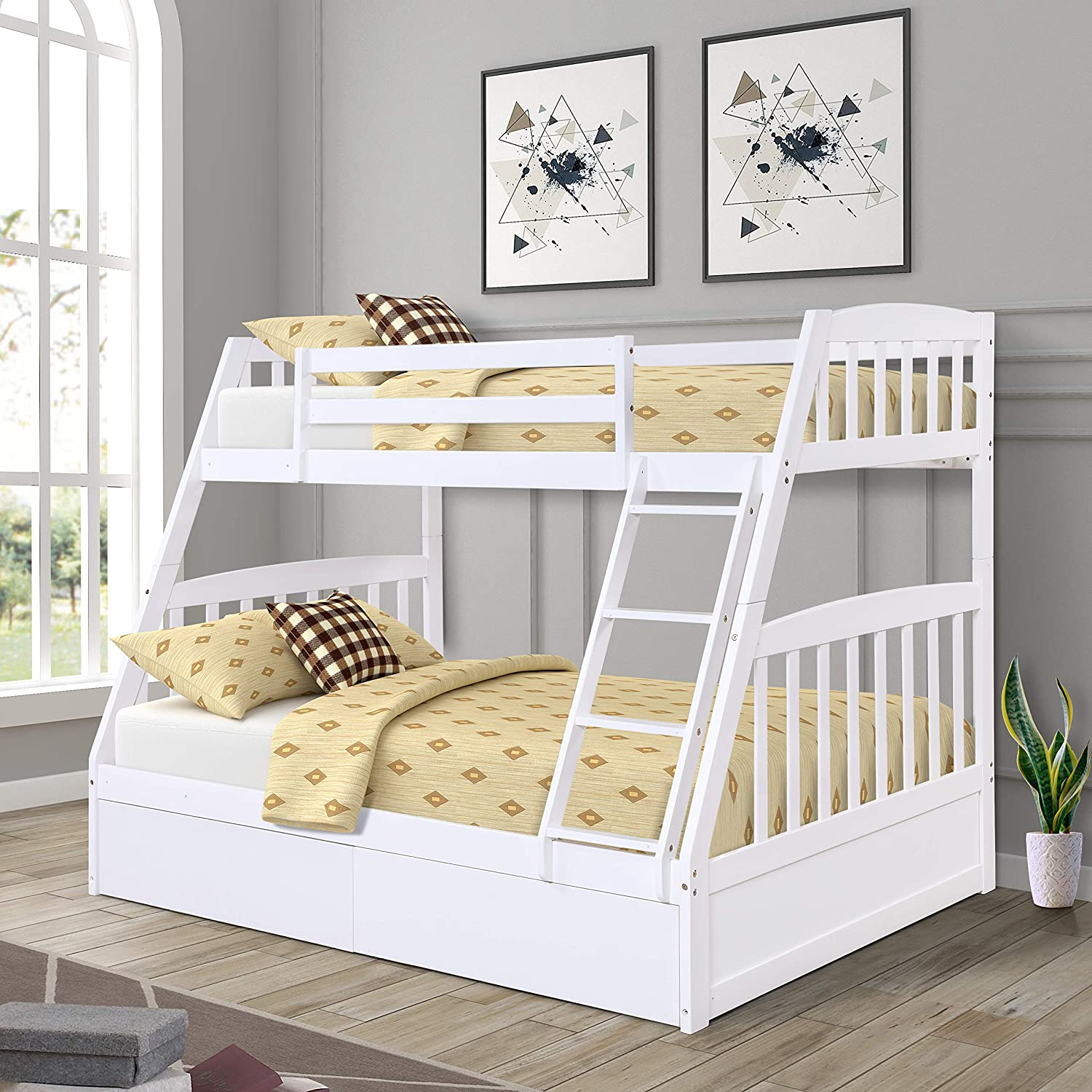 EiioX Twin Over Full Bunk Bed, Solid Pine Wood with Safety Rail, 2 Storage Drawers and Stairway, for Children, Teens Bedroom, Guest Room, White