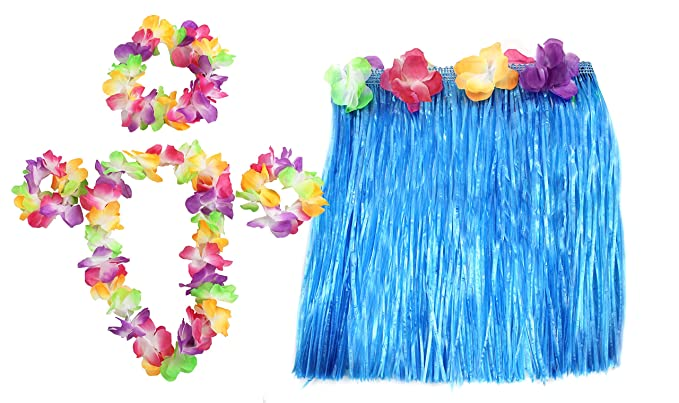 23a38941f797 HAWAIIAN SET FANCY DRESS COSTUME KIT COLOURED 40CM SHORT HULA SKIRT + FLOWER  LEI NECKLACE +