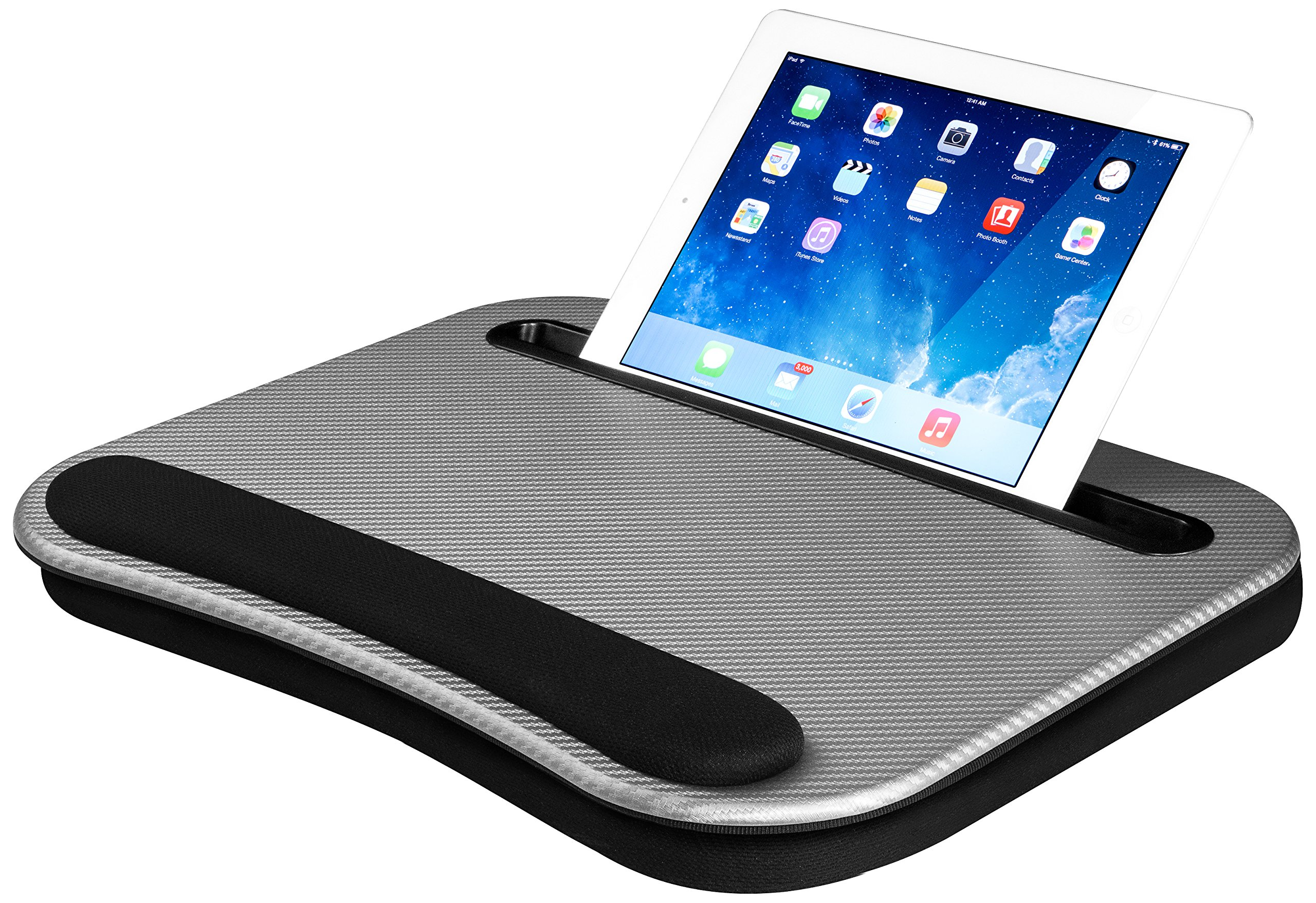 LapGear Smart-e Lap Desk - Silver Carbon (Fits up to 12.9'' Tablet/15.6'' Laptop)