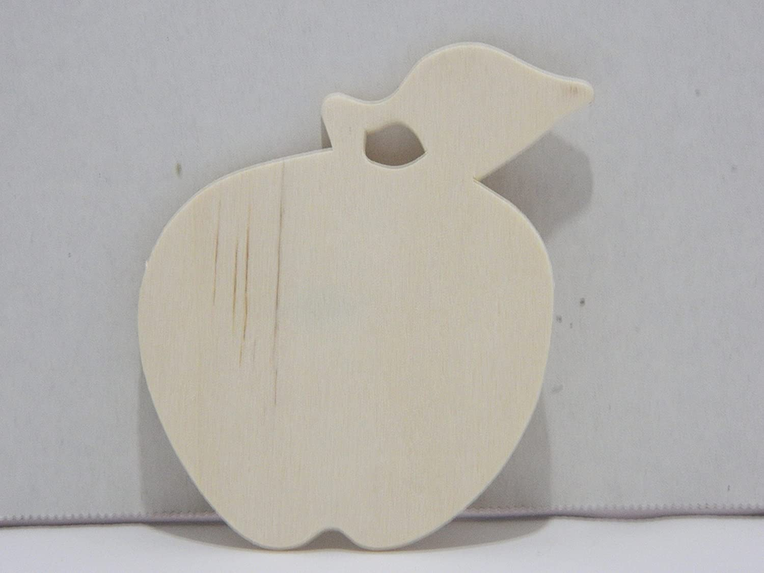 Package of 12 Unfinished Wood Cutouts for Painting and Crafting (Wood Apple)
