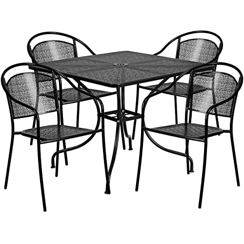 Flash Furniture 35.5'' Square Black Indoor-Outdoor Steel Patio Table Set  with 4 - Restaurant Patio Furniture: Amazon.com