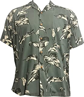 product image for LauLau Men's Hawaiian Aloha Rayon Shirt in Sage - M