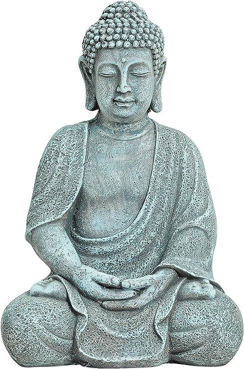 WOMA - Figura decorativa de Buda sentado de magnesio resistente a la intemperie – 30 cm de alto – Decoración para casa, casa y jardín – Escultura para interior y exterior – Gris: Amazon.es: Hogar