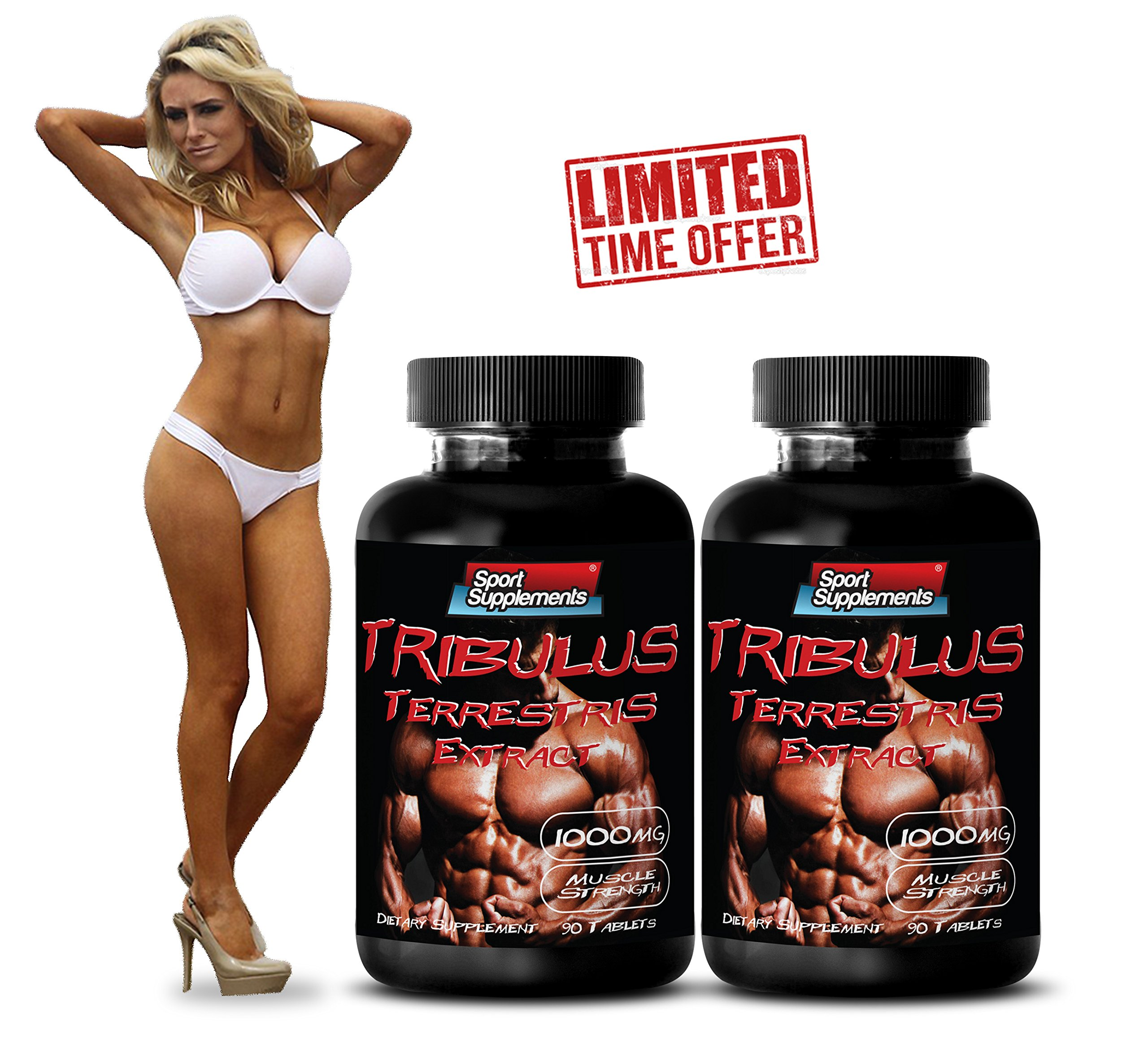 Testosterone Boost - TRIBULUS TERRESTRIS EXTRACT 1000mg (with Standardized 400mg Natural Saponins) - Tribulus terrestris root - 2 Bottles 180 Tablets