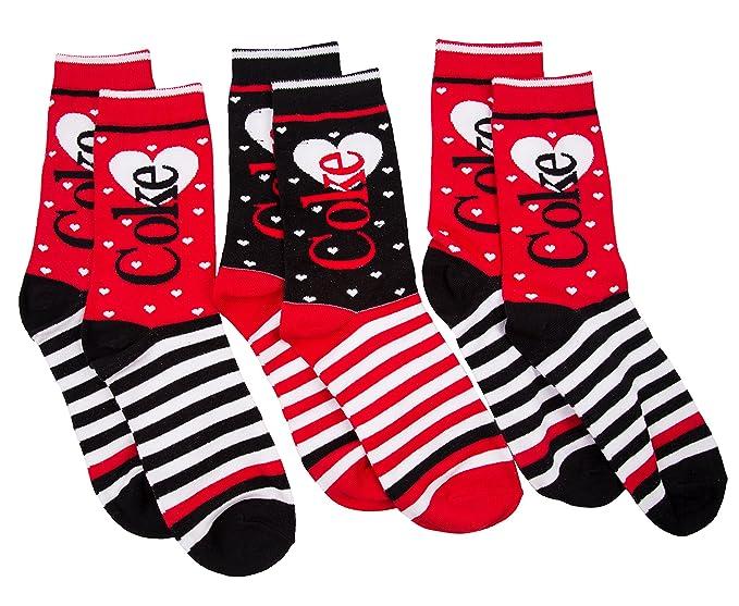 Coca-Cola 3pk coque de las mujeres rayas calcetines regalo: Amazon.es: Ropa y accesorios