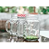 Funkyden Glass Mason Jar With Red And White Checkered Lid For Storage And Party Favors, 500 Ml, Pack Of 2