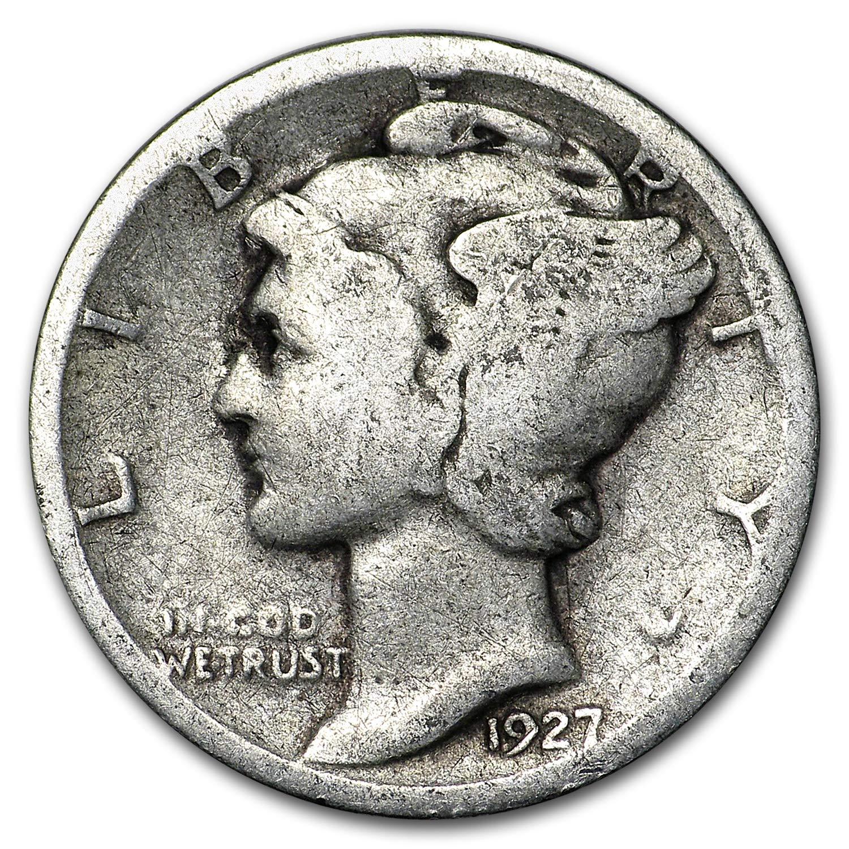 VERY GOOD 90/% SILVER COIN 1927-S MERCURY DIME CIRCULATED GRADE GOOD
