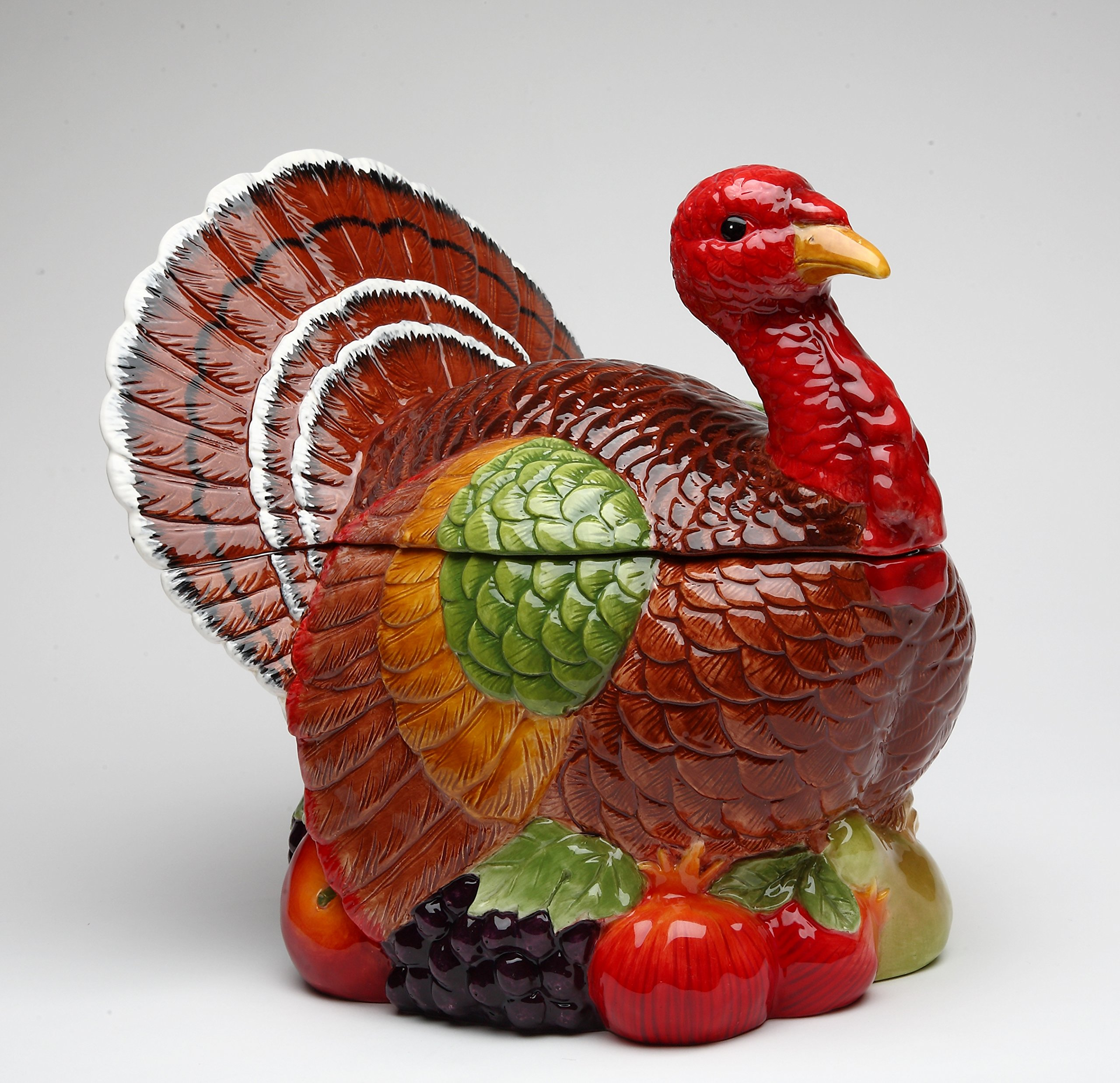 Cosmos Gifts 10712 Fine Ceramic Hand Painted Thanksgiving Harvest Turkey Cookie Jar, 10'' H by Cosmos Gifts