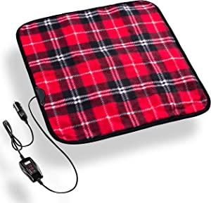 Zento Deals Heated Travel Car Pad – 12V Red Plaid Premium Quality Electric Warm Pad, Relieves Back Pain, Fleece Material, Perfect for Travelling and Winter Season, Non-Flammable