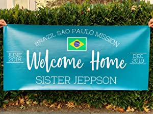 Missionary Banner Welcome Home Sign - Choose Your Options - Latter Day Saint Mission Return with Honor