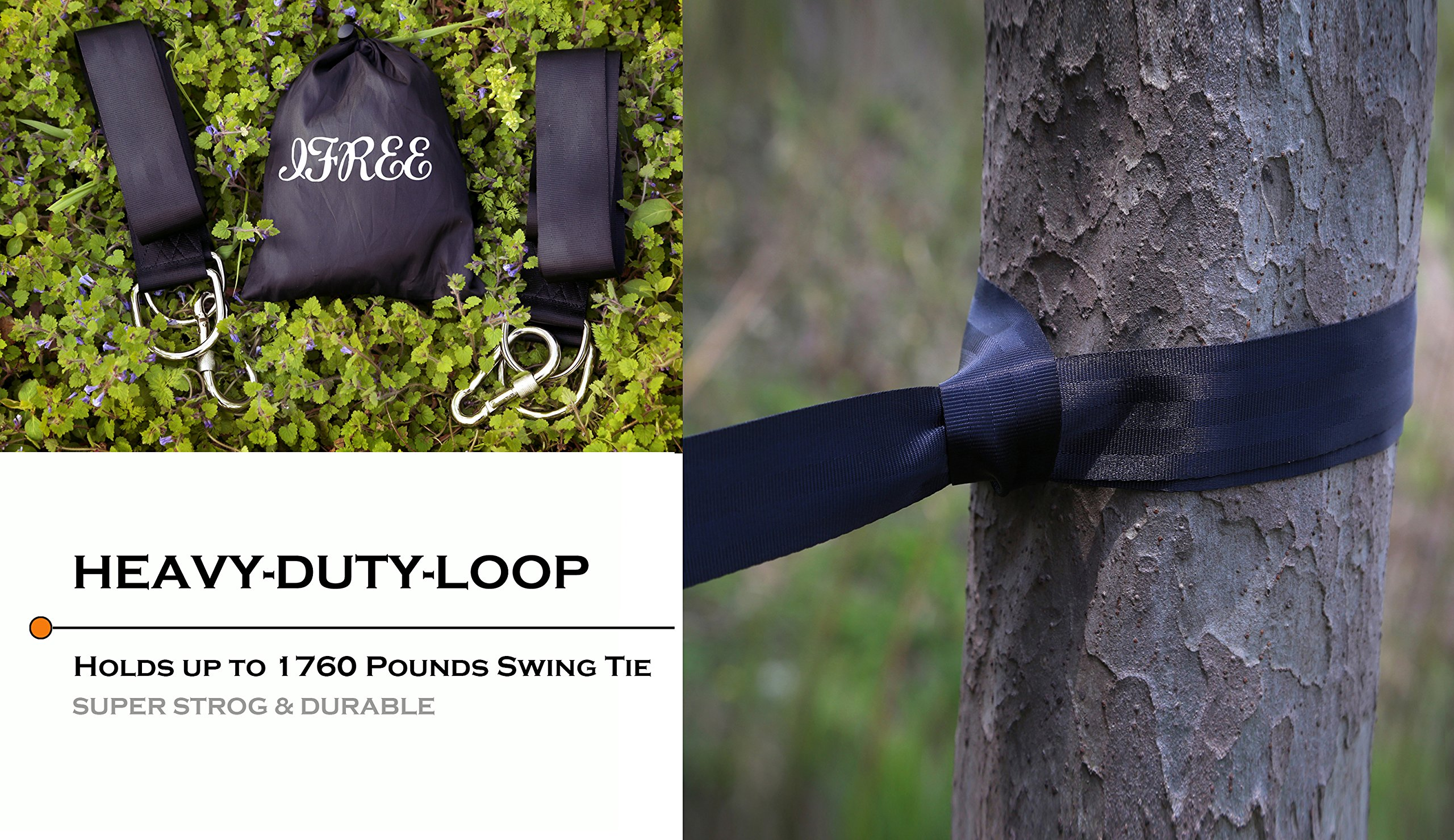 IFREE Tree Swing Straps Set, Safety Swing Handing Rope, Easy & Fast Swing Hanger Installation to Tree, Holds up to 1760 Pounds Swing Tie With 2 Strap & Snap Stainless Steel Carabiner Hooks- Black by IFREE (Image #8)