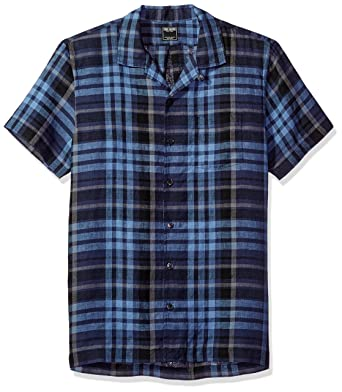 acd8d34a67d86 Todd Snyder Men s Short Sleeve Navy Black Plaid Camp Collar Shirt at ...