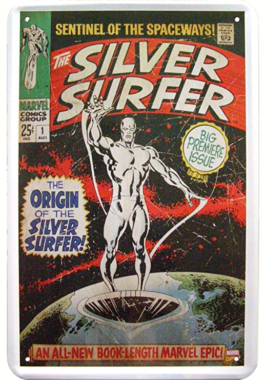 Silver Surfer Deko Diseño Cartel de Chapa Tin Sign: Amazon ...