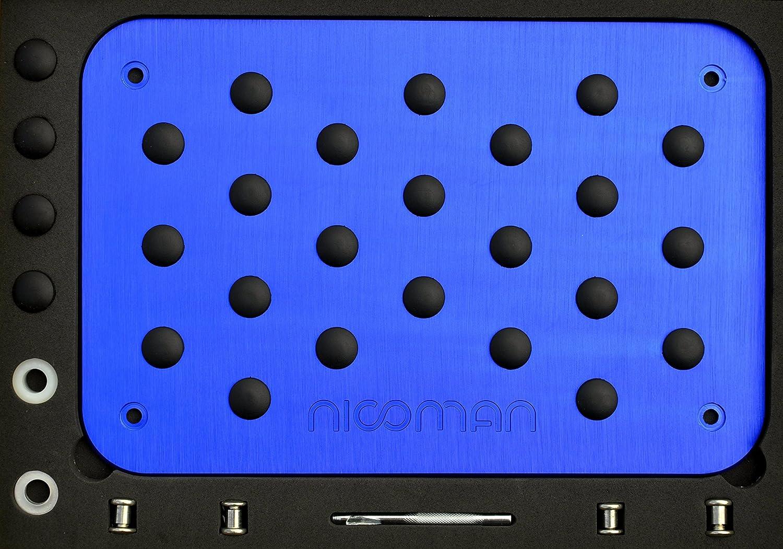 Nicoman High Performance|Metal Heel Pad|Car Foot Rest Pedal Plate|Floor Mat Carpet Cover|Anti-Slip|Sports (Blue)