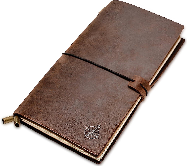 Cuaderno de Cuero - Cuaderno de Viaje Rellenable | Cuero auténtico hecho a mano. Libreta Perfecto para Escritura, Poesía, Viajes, como Diario o Planificador. Insertos en blanco | Leather Journal | 22