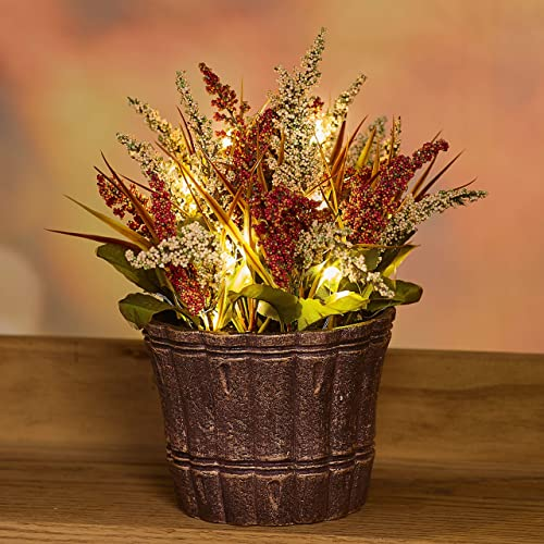 The Lakeside Collection Lighted Autumn Potted Floral Arrangement