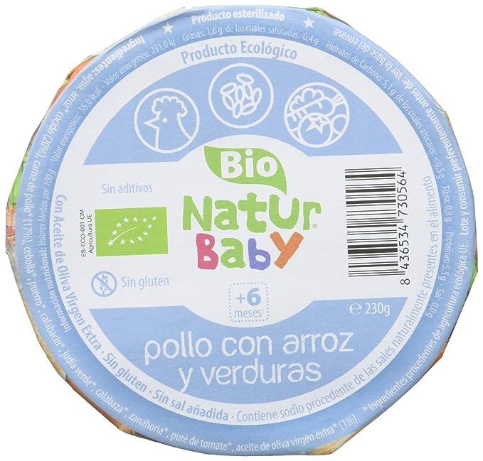 Natur Baby Puré Ecológico de Pollo con Arroz y Verduras para Bebé - Paquete de 12