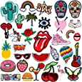 Patch Sticker - RYMALL 32 PC Patch Sticker, Cute DIY Ropa Parches para la camiseta Jeans Ropa Bolsas