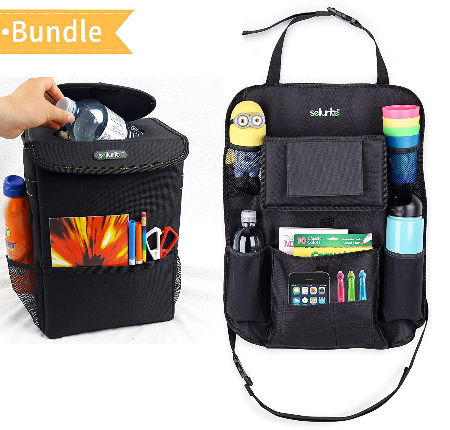 Car Trash Can & Car Seat Organizer Duo–Car Garbage Can with Lid & Backseat Organizer with Cup Holder, Tissue Holder & Pockets